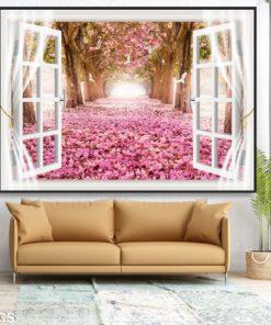 tranh gạch 3D cửa sổ 0