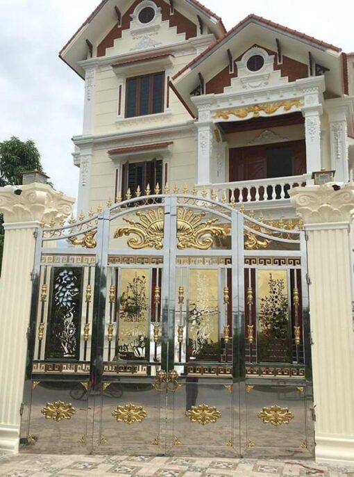 cổng inox mạ màu đẹp 18