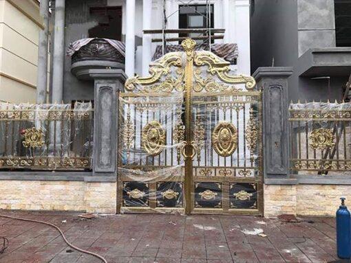 cổng inox mạ màu đẹp 37