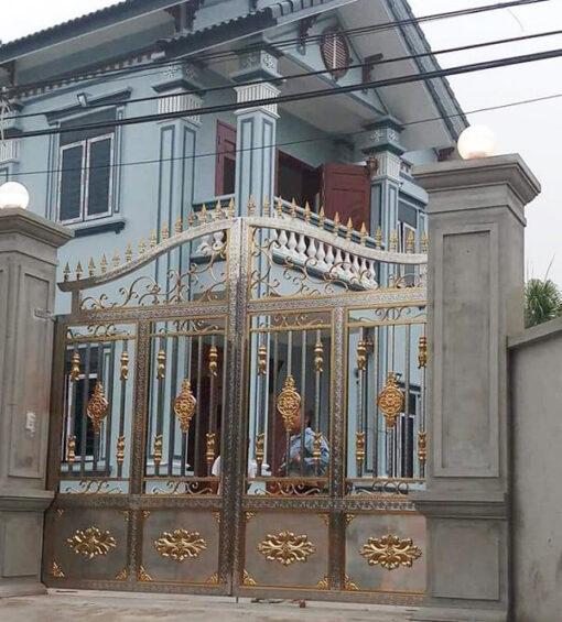 cổng inox mạ màu đẹp 52